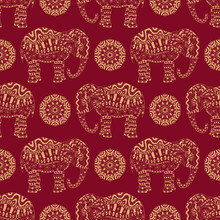 Endless Texture With Stylized Patterned Elephant And Mandala In