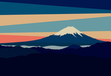 Landscape With Mountain Peaks In Japan. Panoramic Evening View Of Mount Fuji. Vector Illustration