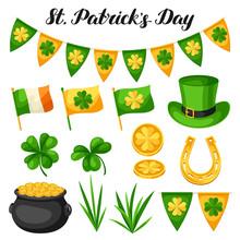 Saint Patricks Day Objects. Flag Ireland, Pot Of Gold Coins, Shamrocks, Green Hat And Horseshoe