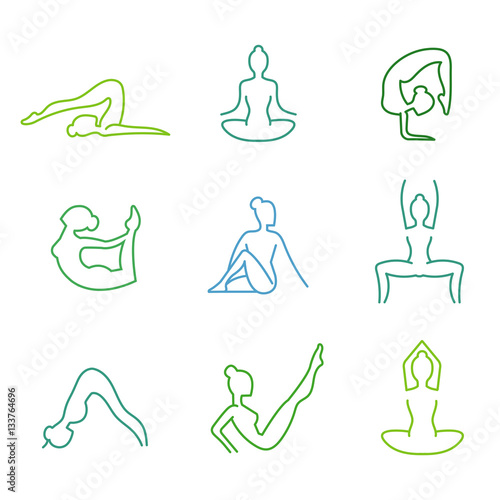Yoga poses vector silhouettes set for woman health isolated on white background