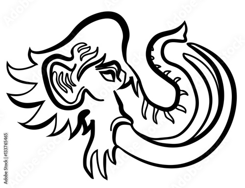 vector illustration of mammoth prehistoric elephant head buy this Mammoth and Mastodon vector illustration of mammoth prehistoric elephant head