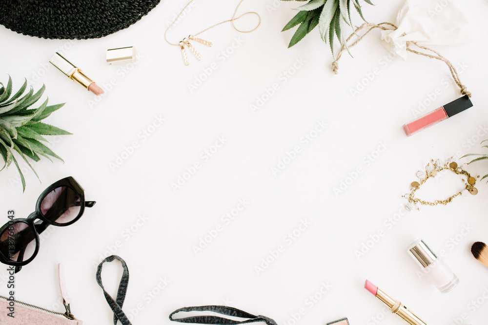 Fototapety, obrazy: Summer casual style. Frame of modern woman clothes and accessories collage. Dress, sunglasses, hat, purse, lipstick and pineapples. Flat lay, top view
