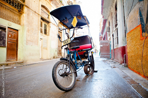 Dog in a Bicycle taxi in Old Havana / Cuba Canvas Print
