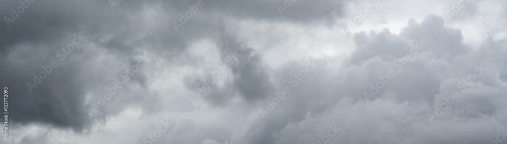 Fototapeta Cloudy sky panorama. Thunderclouds over horizon.