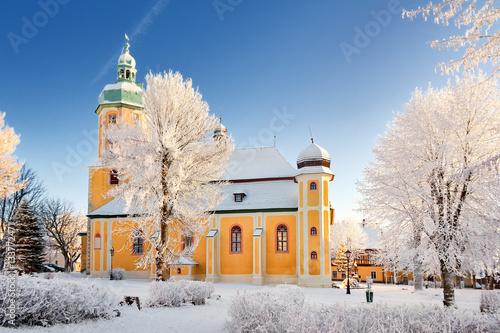 Fotografie, Obraz  St. Laurentiuskirche im Winter, Bergstadt Platten im Erzgebirge