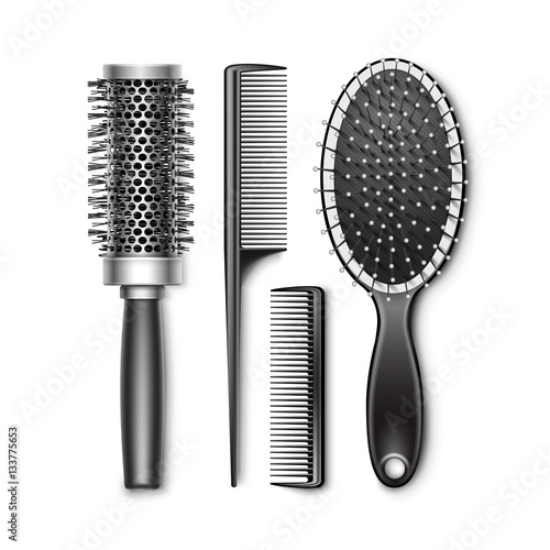 Vector Set of Black Plastic Grooming and Hot Curling Radial Pocket Hair Brush Co Poster Mural XXL