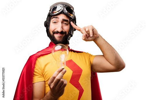 crazy super hero with bulb Poster Mural XXL