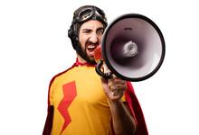 Crazy Super Hero With A Megaphone
