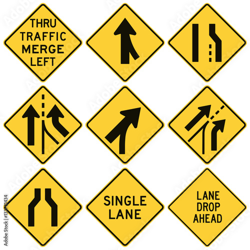 Road signs in the United States. W4 Series: Lanes and Merges.  Wall mural
