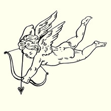 Cupid Shoots Arrows From His Bow, Hand Drawn Doodle, Sketch In Pop Art Style, Vector