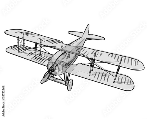 Papiers peints Cartoon draw Biplane from World War with outline. Model aircraft propeller with two wings. Old retro vector aircraft designed for poster printing. Beautifully and realistically drawn vector flying biplane.