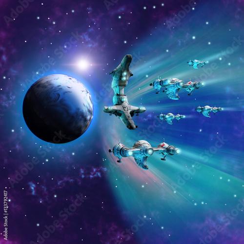 Fotografering Flotta di astronavi aliene si prepara ad invadere la terra uscendo dall'iperspaz