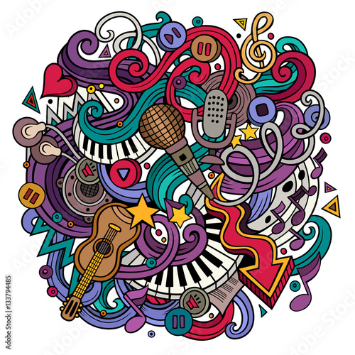 Fototapeta Cartoon hand-drawn doodles Musical illustration obraz na płótnie