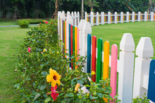 Colorful Fence At Children Playground