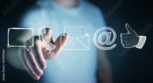 Businessman touching manuscript contact icon with his finger