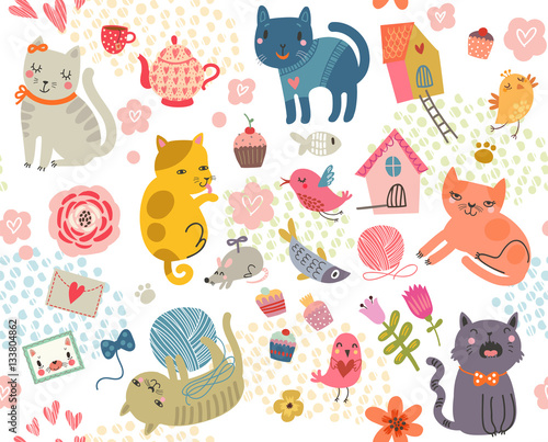 Cotton fabric Seamless pattern with cats