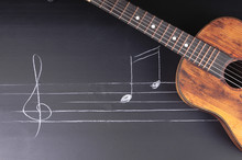 Vintage Guitars On Chalkboard With Music Notes