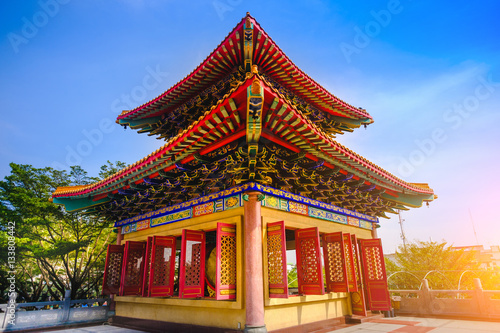 Staande foto Temple Traditional and architecture Chinese style temple at Wat Mangkon Kamalawat or Wat Leng Noei Yi in Nonthaburi,Thailand.