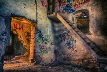 Abandoned Room With Broken Stairs