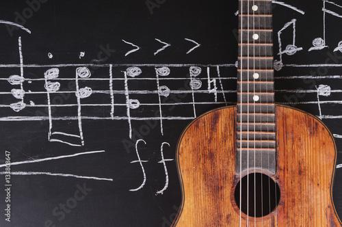 Plakat Rocznik gitary na chalkboard z muzycznymi notatkami