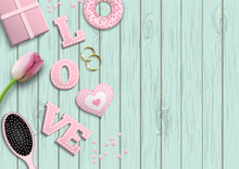 Pink Letters LOVE, Romantic Motive, Inspired By Flat Lay Style, Illustration