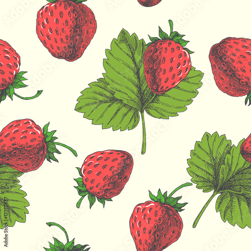 Cotton fabric Strawberry. Vector seamless pattern. Floral hand drawn illustration