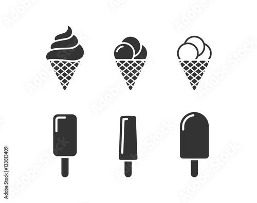 Photo  Ice cream icons set