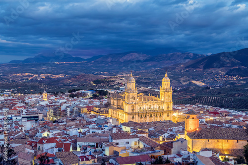 Cityscape of Jaen in the evening, Andalusia, Spain