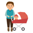 happy family member character vector illustration design