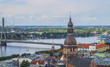 Aerial view of Riga center from St. Peter's Church, , Latvia