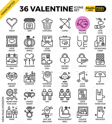 Fotografie, Obraz  Valentine concept icons