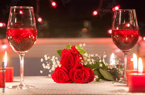 Fotografie, Obraz  romantic candle light dinner setting.