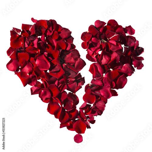 Heart Of Rose Petals Valentines Day Symbol Of Love Broken Heart