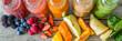 Leinwanddruck Bild - Selection of colorful smoothies on rustic wood background