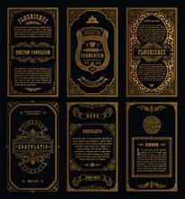 Vintage Set Retro Cards. Templ...