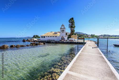 Foto op Canvas Cathedral Cove A view of Vlacherna monastery near Kanoni. Corfu, Greece.