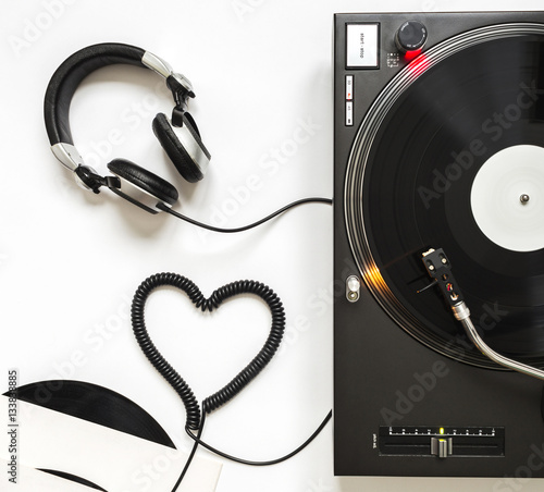 Love Music Concept Turntable With Headphones And Cord Shaped Of
