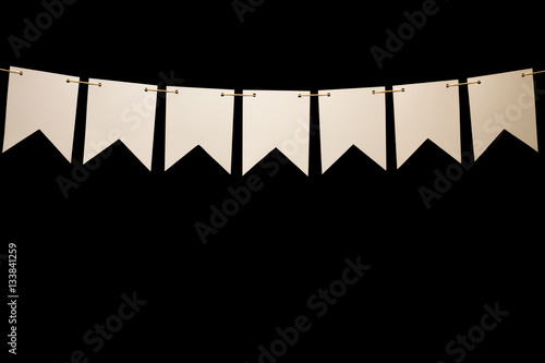 Spoed Foto op Canvas Licht, schaduw Bunting, seven white shapes on string for banner message