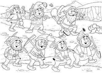 The Snow White and seven dwarfs. Fairy tale. Coloring page. Cute and funny cartoon characters.