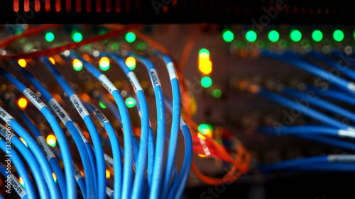 Photo Telecommunication Equipment, Main Distribution Frame with Cables line, Closeup