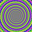 Leinwandbild Motiv Spiral Teeth / An abstract digital image with a spiral fractal design in green, pink, blue and orange.
