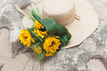 Bouquet Of Sunflowers And Straw