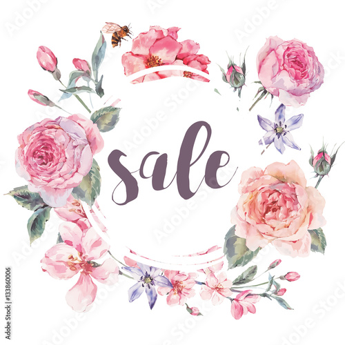 Leinwandbilder - Vector spring vintage floral sale card