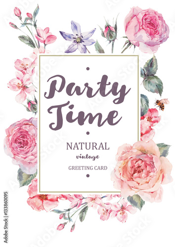 Leinwandbilder - Vertical frame vector card with pink blooming english roses