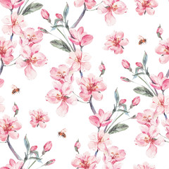 Tapeta Vintage garden vector spring seamless background