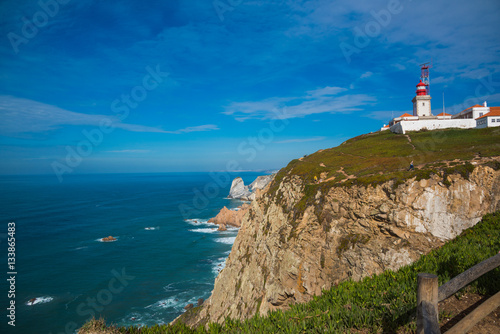 Garden Poster The lighthouse of the Westernmost of Europe, Roca Portugal / Cape Roca the Westernmost of Europe, Portugal