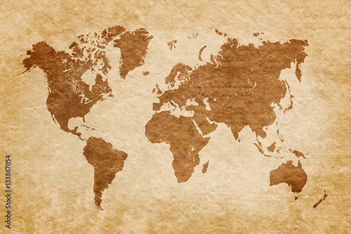 world-map-on-grunge-background-vintage-look