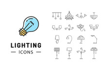 Lamp Icon Set, Lighting Store Flat Design. Thin Line Symbols: Chandelier, Lampshade, Decorative Lightings, Wall Lamp. Brand Identity Graphics, Business Concept. Vector Isolated Black Icons