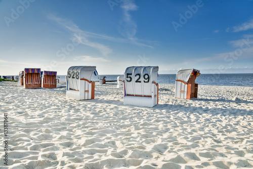 Tuinposter Noordzee Strandurlaub - Strandkörbe an der Nordsee
