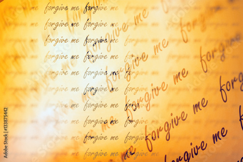 Fotografía  Double exposure of repeat word forgive me for background or valentines day concept